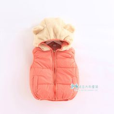 2013 winter children's clothing for boys and girls outerwear cotton padded vest with bear ear hood  waistcoat $25.99