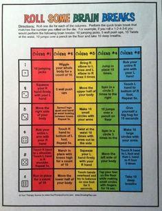 Brain Breaks....great idea for academically heavy days!