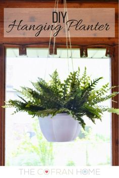 How to Make Your Cheap Plastic Planters Look High-End ~~remove plastic hangers~spray paint with Rust-oleum Painter's Touch Ultra Cover Paint + Primer~use twine for hanging~insert a faux fern~~