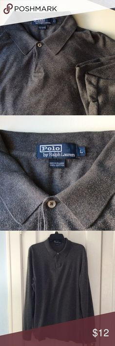 Polo by Ralph Lauren! Long sleeves men's large! Super soft, gray, long sleeves. Previously worn. Nice shape! Ralph Lauren Shirts Polos