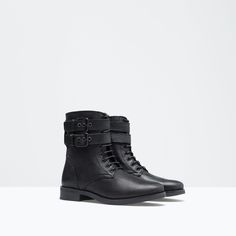 LACE-UP LEATHER BOOT WITH BUCKLE DETAIL from Zara Girls