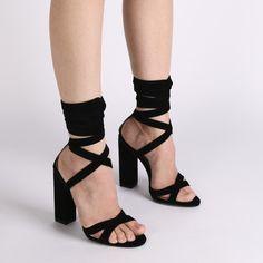 63a400ec6e Vera Lace Up Heels in Black Faux Suede | Public Desire Black Lace Up Shoes,