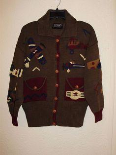 Vintage Ladies BEREK Airplane Sweater Cardigan Hand Knit Uruguay Size M  #BEREK #Cardigan