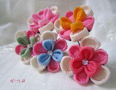 katumi made *つまみ細工の簪(かんざし)髪飾り、つまみ細工のshop*つまみ細工Uピンの髪飾りスミレ咲きセット
