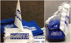 Custom gift ideas for the tailgater--a rally towel, car flag and blanket to keep warm. Print with custom transfers and a heat press