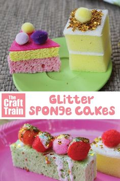 easy DIY glitter sponge cake craft for pretend play. THis is a fun DIY toy kids … easy DIY glitter sponge cake craft for pretend play. THis is a fun DIY toy kids will love Fun Crafts For Kids, Toddler Crafts, Diy For Kids, Craft Kids, Crafts For Babies, Kids Food Crafts, Pretend Food, Pretend Play, Kids Role Play