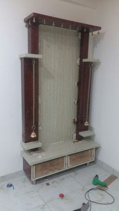 Pooja room Beautiful A Platinum Cufflink Set Can Turn A Boring Shirt Into A Fashion Statement Articl Partition Design, Tv Wall Design, Ceiling Design, House Design, Pooja Room Door Design, Room Interior Design, Temple Design For Home, Mandir Design, Puja Room