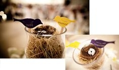 Wedding theme: Lovebirds Wedding colours: purple & yellow  The centrepiece at the wedding party