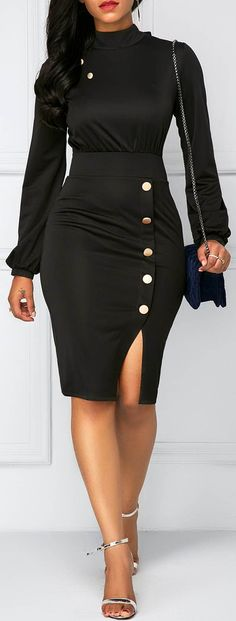 Long Sleeve Button Decor Sheath Dress.