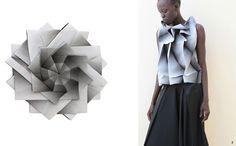 "La ligne 5 Issey Miyake"" conjugue mathématiques et couture Issey Miyake, Fashion Line, High End Fashion, Fashion Details, Moda Origami, Origami Vestidos, Japanese Fashion Designers, Origami Dress, Geometric Fashion"