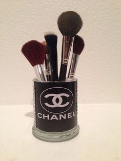 Coco Chanel inspired makeup brush holders by MLGalore on Etsy, $20.00 Coco Chanel Bedrooms, Chanel Brushes, Chanel Holders, Inspiration Makeup, ...