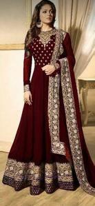 Georgette And Net Fabric Embroidery Work Stylish Party-Wear Anarkali Salwar Kameez Pakistani Dresses, Indian Dresses, Anarkali Dress, Indian Wedding Party Dresses, Red Maxi, Chiffon Maxi, Indian Designer Wear, Classy Dress, Bollywood Fashion
