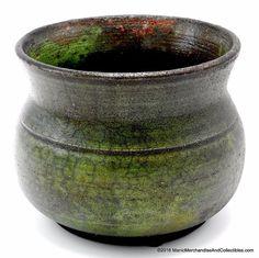 "Raku Saggar Fired Green Art Pottery Vase Pot by Robert Fuhrman Signed 4.25"" NEW #HandcraftedArtPottery #VasePot"