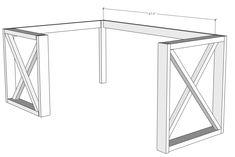L Shaped Double X Desk - Handmade Haven Woodworking Projects Desk, Woodworking Desk Plans, Diy Corner Desk, Diy Wood Desk, Diy Desk Plans, Desk Plans, Diy Office Desk, Diy Desk Decor, Diy Storage Shelves