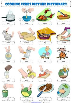 Cooking Verbs ESL Printable Worksheets and Exercises Learning English For Kids, English Lessons For Kids, English Language Learning, Teaching English, English Verbs, English Vocabulary Words, English Grammar, English Study, Learn English