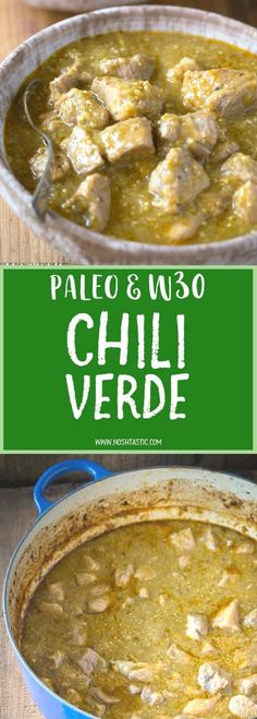 Easy and healthy gluten free Paleo Chili Verde recipe with roasted tomatillos garlic onion and tender pieces of pork that melt in your mouth and it's low carb too! Easy and healthy g Low Carb Soup Recipes, Paleo Recipes Easy, Mexican Food Recipes, Real Food Recipes, Cooking Recipes, Tomitillo Recipes, Mexican Meals, Paleo Meals, Snacks