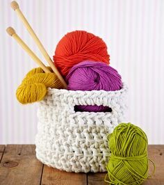 Spring cleaning? Make chunky storage baskets for craft supplies and more with our free crochet patterns