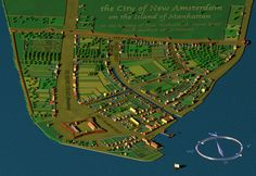 New Amsterdam in 1660 - Wall Street was once uptown. New York City Map, City Maps, East River, Wall Street, Netherlands Map, Dutch Colonial, Colonial America, New Amsterdam, Brooklyn