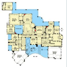 Move living to dining. Kitchen and pantry to living, dining to. Kitchen with view of courtyard Luxury House Plans, Best House Plans, Dream House Plans, House Floor Plans, Luxury Houses, The Plan, How To Plan, Architectural Design House Plans, Modern House Design