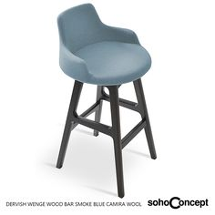 A modern stool with a comfortable upholstered seat and backrest, Soho Concept Dervish Wood Stool. #SohoConcept #barstool #counterstool #SohoConceptTeam Available at allmodernoutlet.com  http://www.allmodernoutlet.com/soho-concept-dervish-wood-stool/