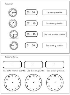 ¿Qué hora es? Ejercicio 3 Elementary Spanish, Spanish Classroom, Teaching Spanish, Spanish Lesson Plans, Spanish Lessons, Telling Time In Spanish, Spanish Worksheets, English Resources, Math Class