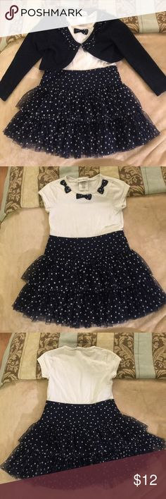 Tutu Dress and Crop Sweater Set Navy blue and white. Tulle tiered ruffle tutu bottom with white t-shirt material top on dress. Navy crop sweater with ruffle collar. jona michelle Dresses