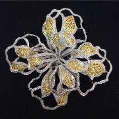 Yellow & White Diamonds Flower Brooch #Beautiful #Design #Delicate…
