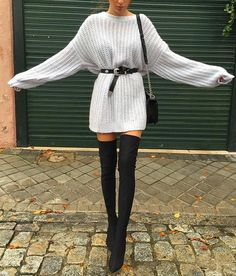 "fashionn-enthusiast: "" Belt» Sweater Dress» Boots» """