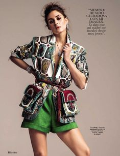 Olivia Palermo poses in Schiaparelli Haute Couture jacket and shorts with Bulgari jewelry