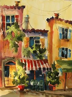 "jinnie may artist | Salon de The III by Jinnie May Watercolor ~ 30"" x 22"""