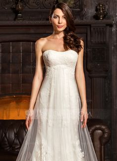 Sheath/Column Sweetheart Chapel Train Ruffle Lace Up Strapless Sleeveless Church General Plus No Winter Spring Summer Fall Ivory Tulle Lace Height:5.7ft Bust:34in Waist:23in Hips:35in US 2 / UK 6 / EU 32 Wedding Dress