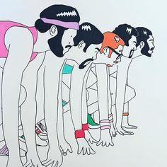 T H E • R U N N E R S  #illustration #drawing #art #minimal #funk #70s #sport #running #adidas #afro #orange #pop #posca #uniposca #poscart #fabriano #パスタ#イタリア#ショッピング#ミニマル#スポーツ #alessiovitelli