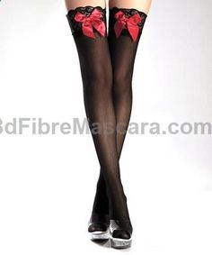 This Black & Red Satin Bow Thigh-High Stockings by Be Wicked! is perfect! #zulilyfinds #pantyhose #sexy #ladies #women #ladyproducts #lush #smooth #fashion #stunning #legs #glamour