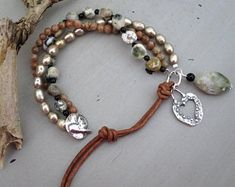Leather Jewelry, Beaded Jewelry, Handmade Jewelry, Beaded Bracelets, Bohemian Bracelets, Artisan Jewelry, Diy Jewelry, Rope Jewelry, Embroidery Bracelets