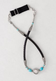 """""""Ada"""" Leather and turquoise Head Band for a southwest look. Removable adjustable elastic band available in Black, Blonde, Brunette, or Silver"""