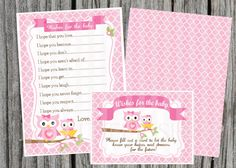 Owl Whishes for the Baby Printable card
