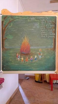 Sint-Jansvuur - Steinerschool Blackboard Drawing, Chalkboard Drawings, Chalk Drawings, Curriculum, Homeschool, Origami And Kirigami, Summer Solstice, Blackboards, Second Grade