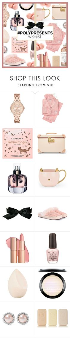 """#PolyPresents: Wish List"" by celine-diaz-1 ❤ liked on Polyvore featuring Victoria's Secret, Sephora Collection, Globe-Trotter, Yves Saint Laurent, Chanel, UGG, OPI, Christian Dior, MAC Cosmetics and Miu Miu"