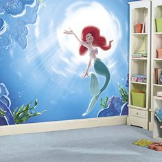 """RoomMates JL1370M Disney Princess The Little Mermaid """"Part of your World"""" XL Chair Rail Prepasted Mural, 6' x 10.5' - Ultra-Strippable Decal RoomMates http://www.amazon.com/dp/B017WHXKBY/ref=cm_sw_r_pi_dp_FJxOwb0EB57AT"""