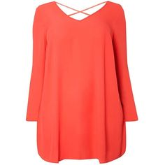 Dorothy Perkins **DP Curve Coral Cross Back Detail Blouse ($45) ❤ liked on Polyvore featuring tops, blouses, coral, red top, dorothy perkins, coral top, long sleeve red blouse and long sleeve tops