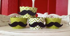 Mustache cupcake wrappers- Green. $13.00, via Etsy.