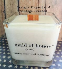 NEW Maid of Honor Soy Candle Bridal Gift Ideas by VintageCreated