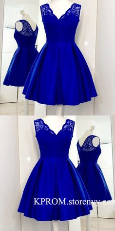 Charming Royal Blue Cute Prom Dress, Lace Satin Short Homecoming Dress,V Neck Il. - - Charming Royal Blue Cute Prom Dress, Lace Satin Short Homecoming Dress,V Neck Illusion Back Cocktail Dress for Teens on Storenvy Blue Homecoming Dresses, Cute Prom Dresses, Grad Dresses, Dresses For Teens, Sexy Dresses, Evening Dresses, Elegant Dresses, Party Dresses, Dresses Online
