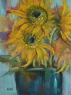 SUNFLOWERS Floral Original Pastel Painting by Karen Margulis