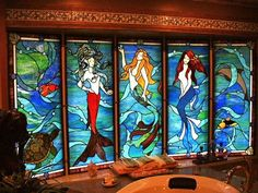 Mermaid bathroom Mermaids by Glass Fusion Studios of Vermont Stained Glass Projects, Stained Glass Patterns, Stained Glass Art, Stained Glass Windows, Leaded Glass, Mosaic Art, Mosaic Glass, Harry Potter, Mermaid Bathroom