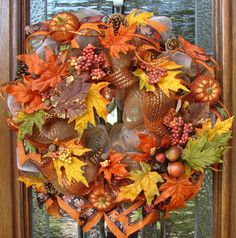 Fall Autumn Thanksgiving Deco Mesh Wreath by LadybugsWreaths, $80.00