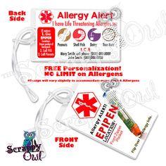 Allergy Alert Tag Epipen Alert for backpack