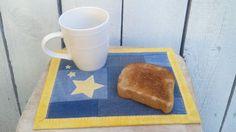 Star and Upcycled Denim Mug Rug Oversized by MamaJamaQuilts