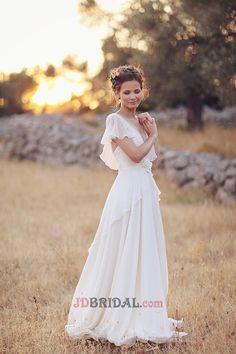 V-Neck Short Sleeves Chiffon with Appliques &Ruffles Drapped Empire Sweep Train Different Wedding Dresses