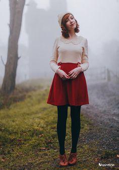 Vestido combinado perla rojo manga larga-Beige